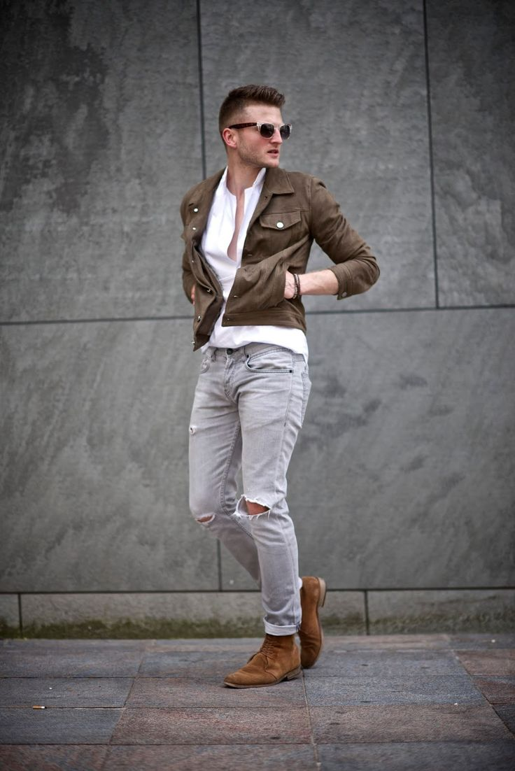 Dress dapper in White Shirt, Dark Brown Denim Shirt, Grey Ripped Jeans and a pair of Tabacco Suede Desert Boots
