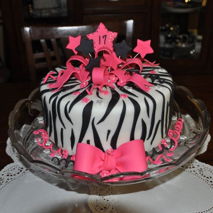 Zebra Print And Hot Pink Birthday On Cake Central