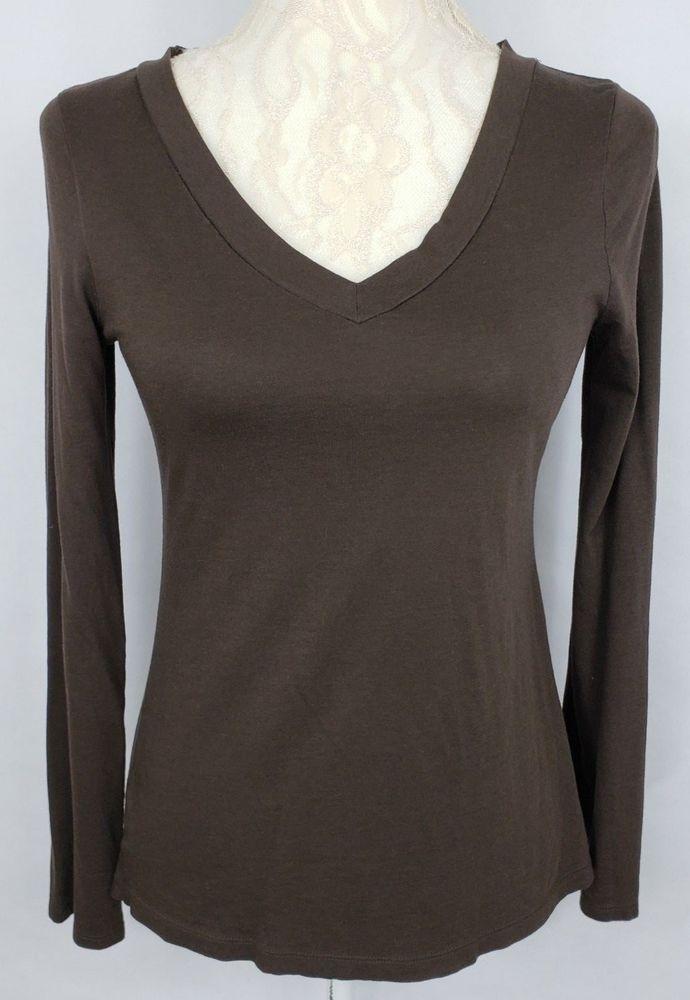 ebcc3d5a Loft Women's Brown V Neck Stretch Top Long Sleeve Size Medium ...