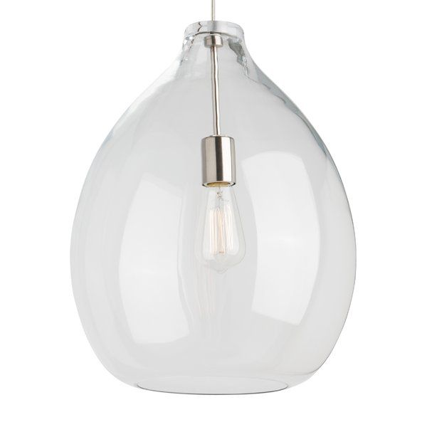 Grand scale and unparalleled quality are immediately evident when approaching the large scale Quinton glass pendant light from Tech Lighting. The flawless organic bulb shape is hand blown by highly skilled artisans in Poland. The LED version of this light fixture features Tech Lighting's Alva pendant light for a twist of modern style. Includes 120 volt, 60 watt, S21 Squirrel Cage lamp or 14.5 watt, 1000 net lumen LED module. Dimmable with standard incandescent dimmer.