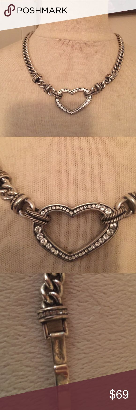"""Brighton collection silver crystal heart necklace Brighton collection silver/crystal heart necklace choker 18.5"""" from end to end NWOT Brighton Jewelry Necklaces"""