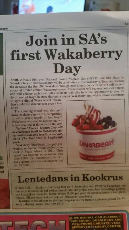 Wakaberry in the Vaal Ster Newspaper! Let's celebrate NFYD