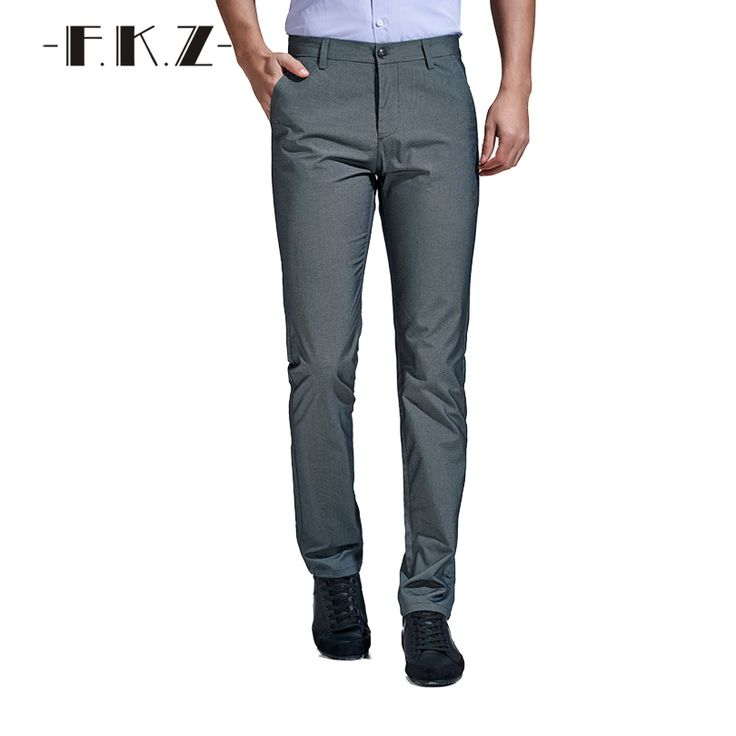 FKZ New Stylish Formal Mens Straight Pants Trousers Business Casual Trousers Men Cotton Mid Waist Tights for Men Pants GNP3201 #Affiliate