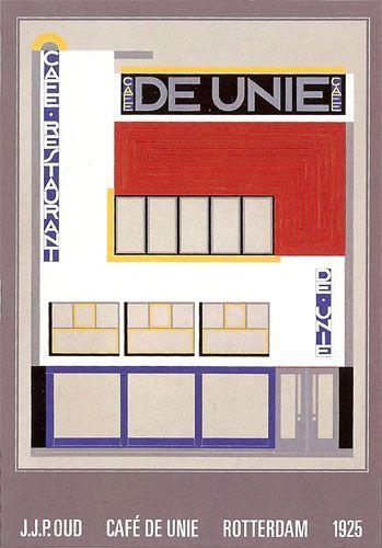 Cafe De Unie  Rotterdamn  1925 by J.J.P. Oud