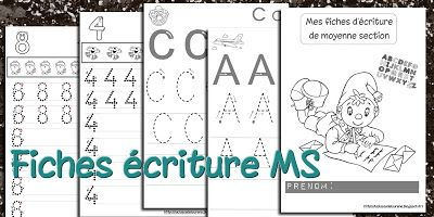 fiches écriture lettres et chiffres MS