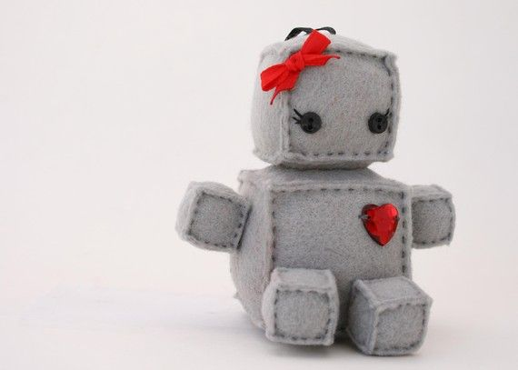 stuffed robot - I'd love to learn how to make this for future kids! How adorable would it be for them to carry this around instead of a doll? Lol