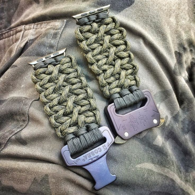 Apple Watch - Cobra Buckle double cobra braid in black camo  knottydans.com #paracord #whatsonyourwrist we accept visa/master card just click on pay with PayPal and choose pay with credit card no pay pal required  #tactical #edc #manshit #watchband #watch #dtom #molonlabe