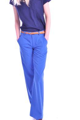 - blue flared pants: Color