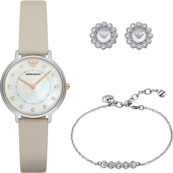 Emporio Armani Dress Watch, Earrings and Bracelet Gift Set - Beige -... ($245) ❤ liked on Polyvore featuring jewelry, watches, tan, dress watches, emporio armani, dress watch, emporio armani jewelry and beige watches