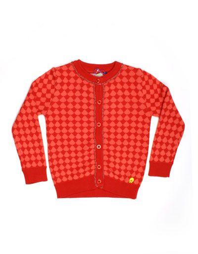 Rood cardigan met koraal patroon - Someone Kids - Pepatino.be - mt 92, 29,95 euro
