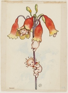 Christmas Bell Babies, watercolour drawing by May Gibbs. From the collections of the Mitchell Library, State Library of New South Wales http://www.sl.nsw.gov.au/discover_collections/society_art/gibbs/index.html