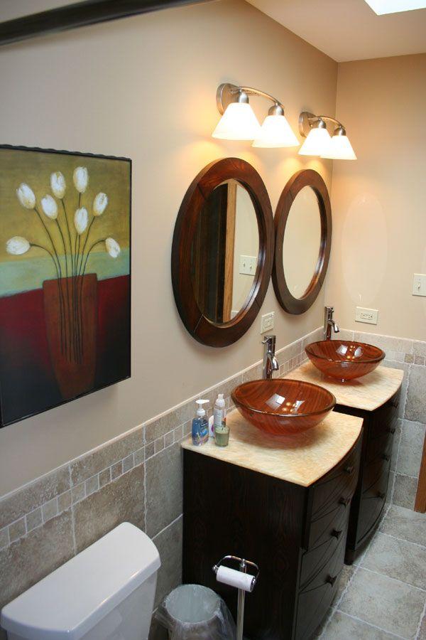 hall bath double vanities with vessel sinks