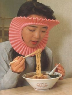 Japanese Invention : Ramen Noodle Splatter Guard- yes, because you Surely don't want to look stupid with Ramen noodle on your face..