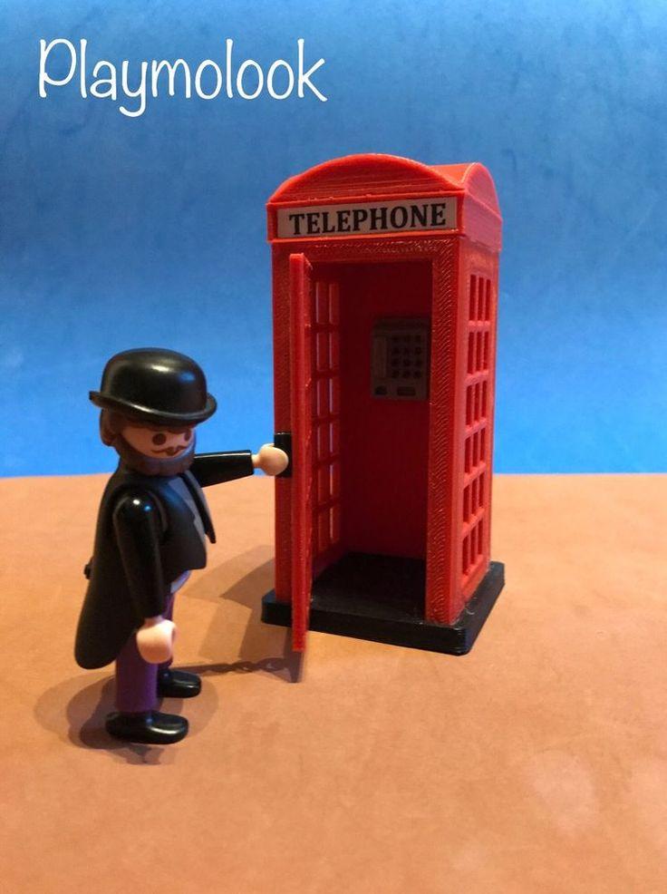 CABINA TELEFONICA INGLESA CUSTOM LONDON PHONE BOOTH PLAYMOBIL FIGURA NO INCLUIDA