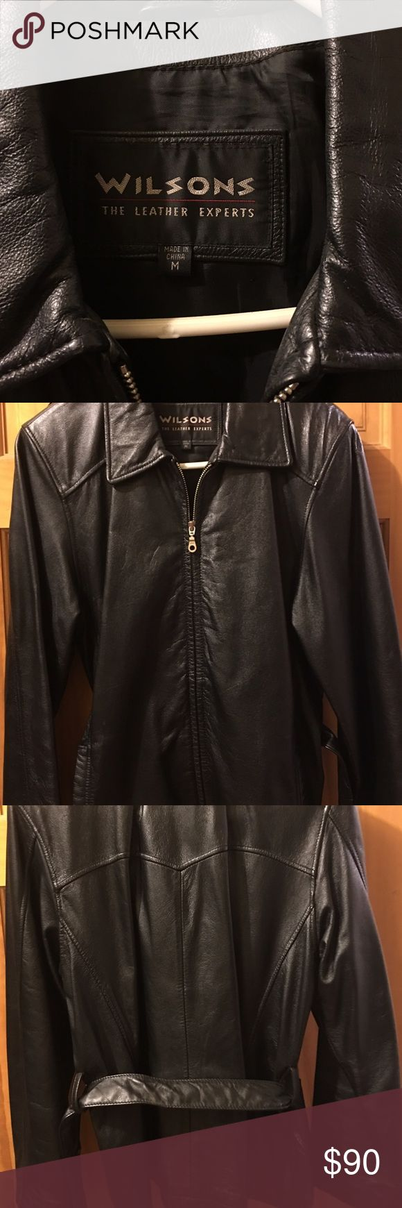 Wilsons black leather jacket Size M Excellent condition black ladies leather jacket. Zips up front and ties around waist. Wilsons Leather Jackets & Coats