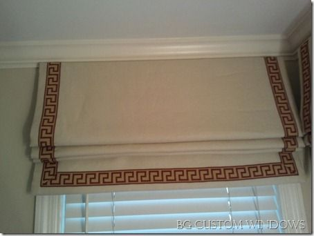 Outside Mount Flat Roman Shade With Inset Banding Over