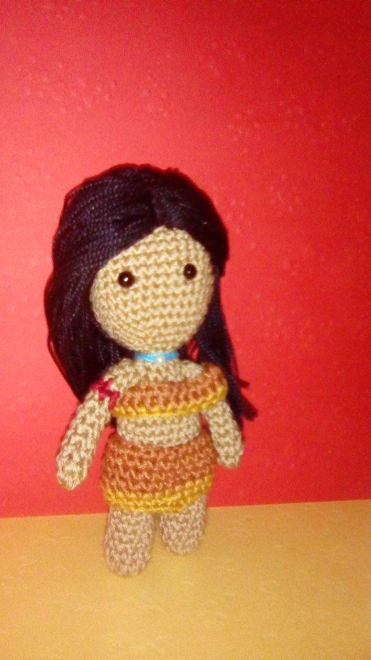 handmade, amigurumi doll ,doll amigurumi, hoy crochet,  crochet doll, princess pocahontas, posable girls, toy with wire frame, custom made de naimacrochethandmade en Etsy