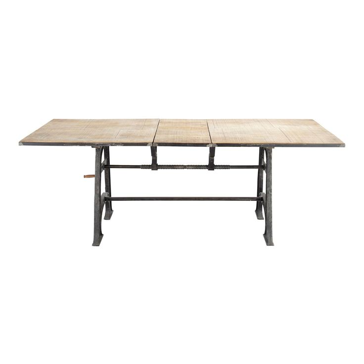 This isn't an adjustable height desk, but I like the crank and that it has a right+left hand threaded rod to split the table for the leaf.  Manivelle Rectangular Dining Table | £799