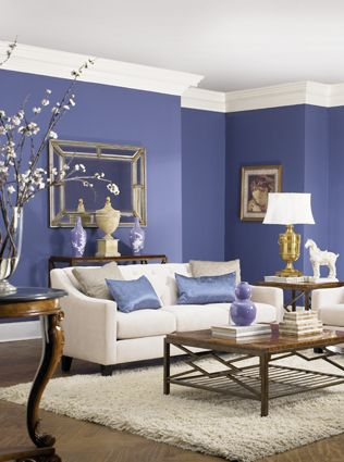 Modern Living Room With A Purple Accents