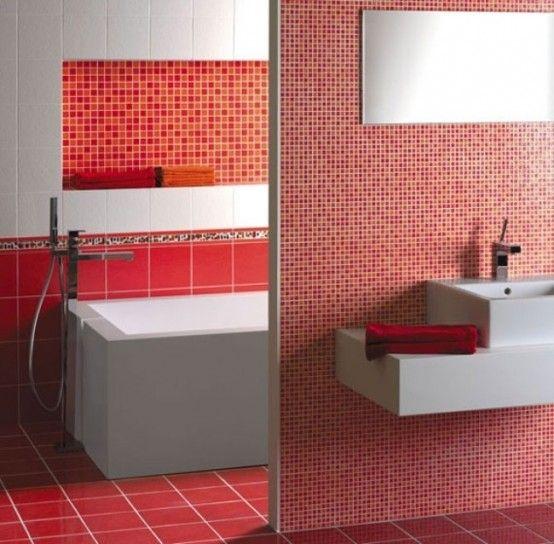 Bagno mosaico rosso