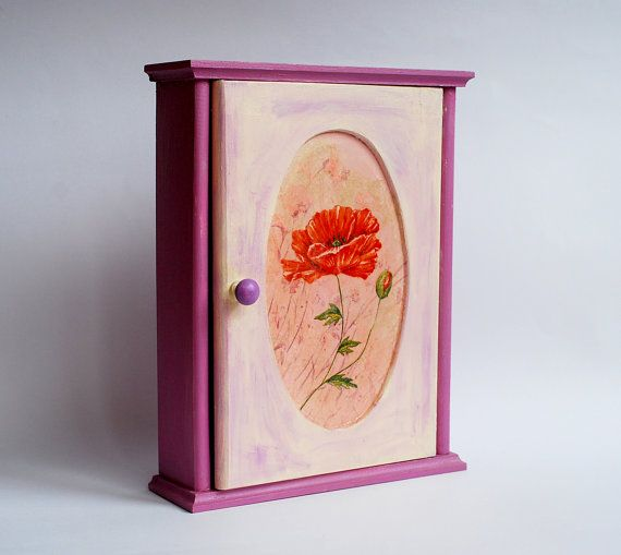 DISCOUNTED Wooden key box cabinet with poppy wall decor hand painted purple creme #crochet #handpainted