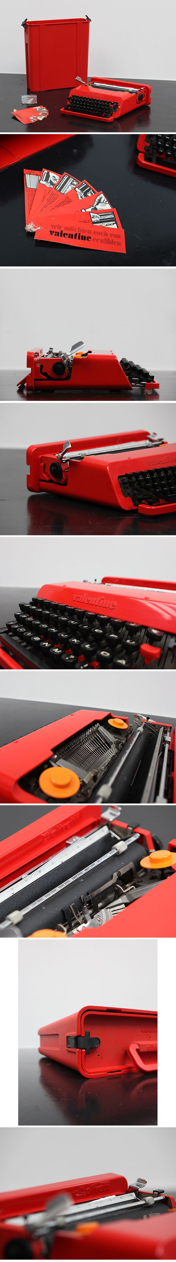 Ettore Sottsass Valentine typewriter for Olivetti 1969     Complete and well kept Ettore Sottsass. Valentine typewriter for Olivetti, 1969. ABS plastic and other materials, 11.7 x 34.3 x 35.2 cm. 'Ettore Sottsass: Work in Progress', Design Museum, London. City Furniture.be. online