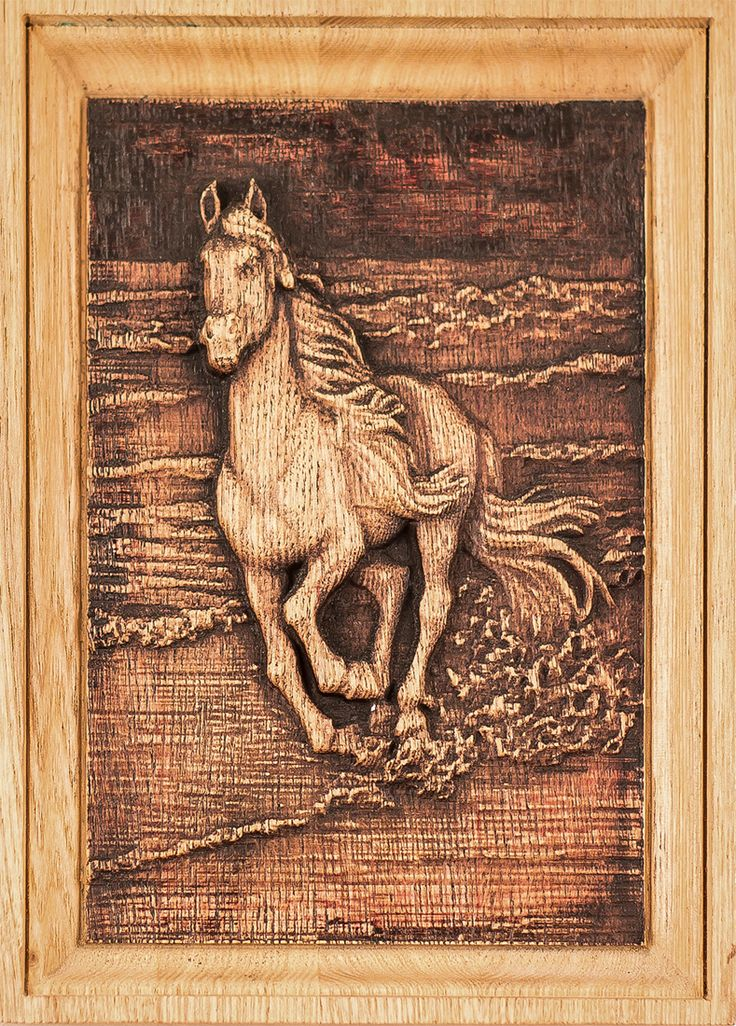 "Carved wooden picture ""horse"" Ready for shipping. Size 18 * 180 * 130 mm. $35.00 ."