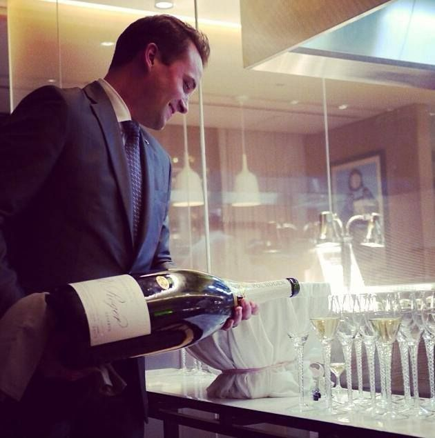 Dec. 31, 2013 —minutes before midnight. Methuselah (6L) of Pol Roger Champagne at Travelle's Black & White Dinner, at The Langham, Chicago.