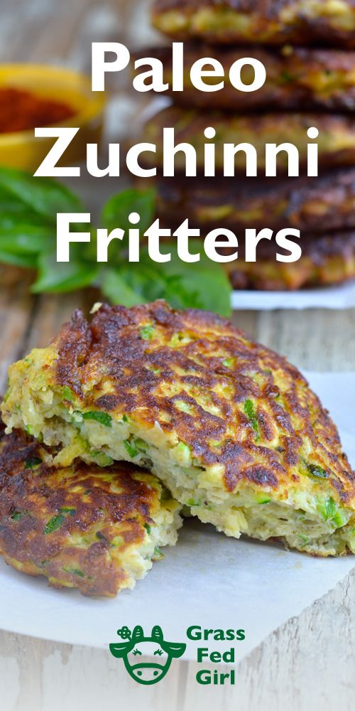 Fried Zucchini Recipe: Paleo Fritters | https://www.grassfedgirl.com/fried-zucchini-recipe-paleo-fritters/
