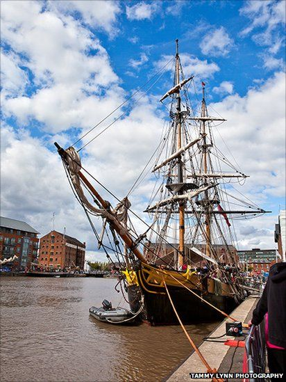 Ship in Gloucester's historic docks as part of the 2011 Tall Ships Festival