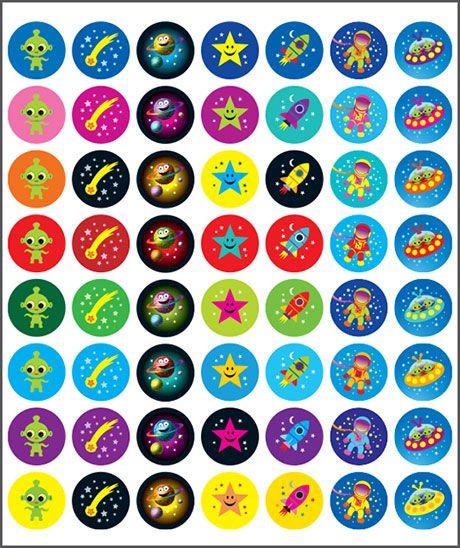 Sticker Mini Merit Space. Teacher sticker pack. Contains 280 sticker. Merit award.
