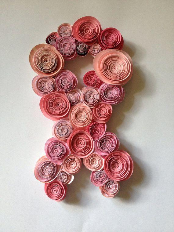 Paper Flower Breast Cancer Awareness Ribbon