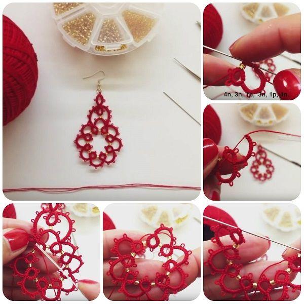 Come fare orecchini con chiacchierino ad ago #tutorial #diy #handmade