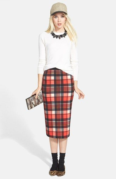 Halogen® Crewneck Cashmere Sweater & Bobeau Plaid Midi Skirt available at #Nordstrom