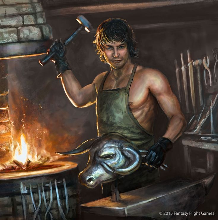 """Gendry """"[T]his boy had the heavy shoulders and muscular right arm so often seen on smiths. He wore a long leather apron, but under it his chest was bare. A dark stubble covered his cheeks and chin, and his hair was a thick black mop that grew down past his ears."""" art by Jason Jenicke"""