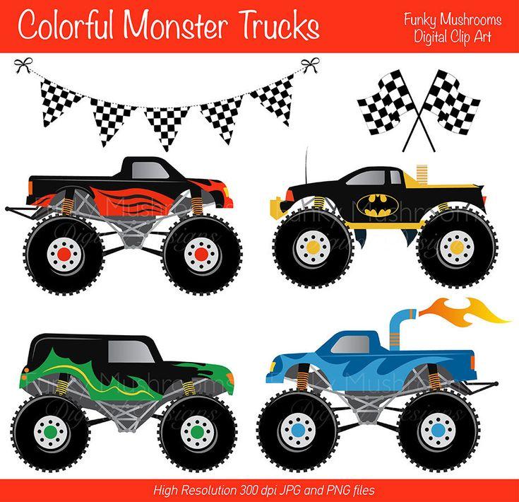 Digital Clipart Colorful Monster trucks for Scrapbooking