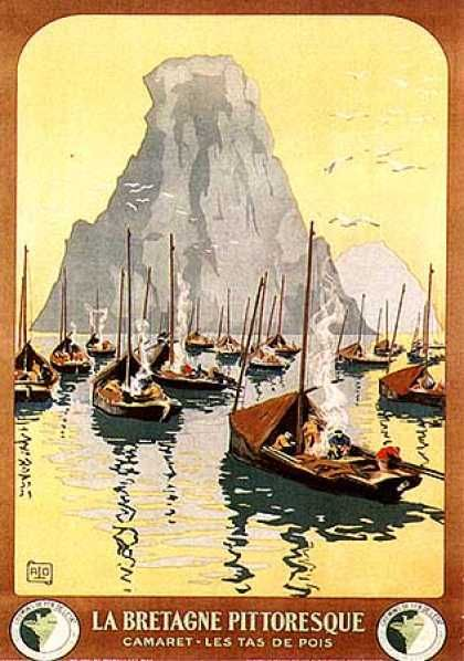"""La Bretagne"",  by Charles Allo,  c. 1930.                                                                         The scene depicted dates from the turn of the century. The sardine fishing fleet is moored for the night near one of the best fishing places of ""Iroise"". Tents are built-up with foresails, the cotriade (fish soop) is cooking on a fire. One of the impressive rocks of the Tas-de-Pois (Ar Berniou Pez) can be seen in hinterground Impressive"