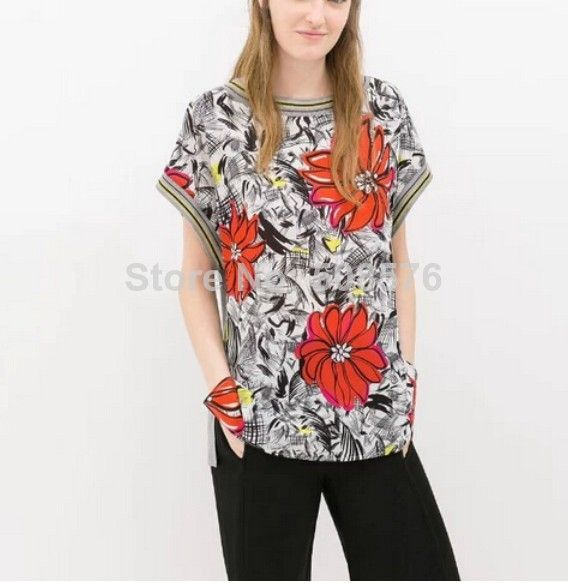 New Fashion Ladies' Elegant floral striped print gray T shirt O neck short sleeve shirts casual slim brand designer tops