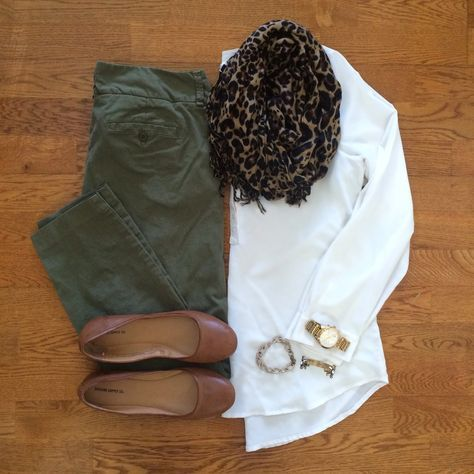 Olive pants + white shirt + brown flats + gold accessories