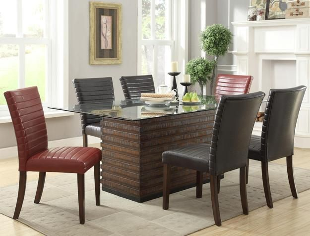 72 amari glass dining table set