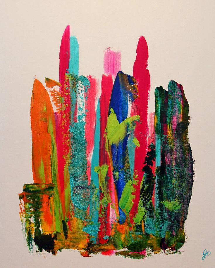 Lilliputien 1. Nous sommes à la fois grand et petit dans cette toile d'une série de trois différentes. Vous vous sentez grand ou petit en la regardant? Du mouvement, de la couleur (aqua, orangé, vert, rouge, bleu, argent, jaune, mauve), de la texture.