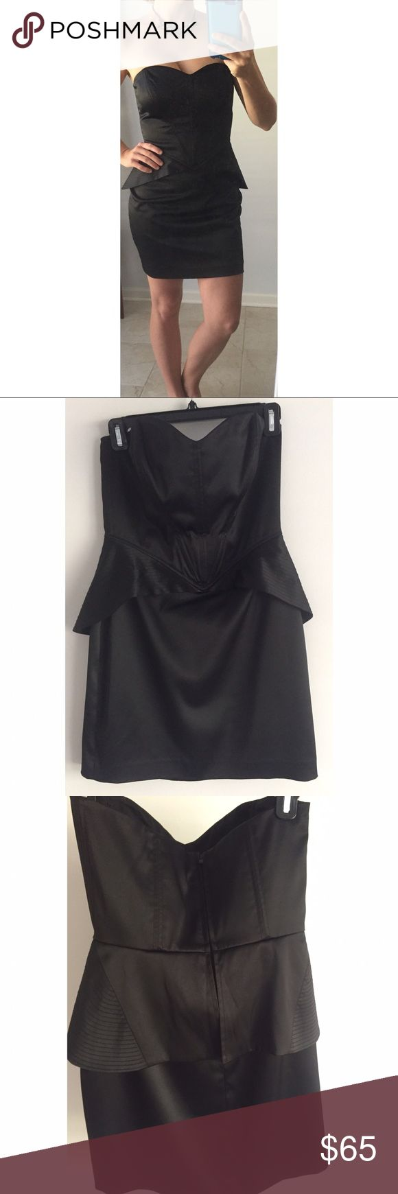 """Betsey Johnson peplum corset mini dress 6 small Amazing fit and very flattering to the figure. Wore 1 time and dry cleaned so ready to wear. No stains no tears. Light creasing at the midsection bodice area but straightens out when on body. Reasonable offers welcome. Fits as sized! Size 6! For reference I am 5""""4 in height in the photo with a 34D Betsey Johnson Dresses Mini"""