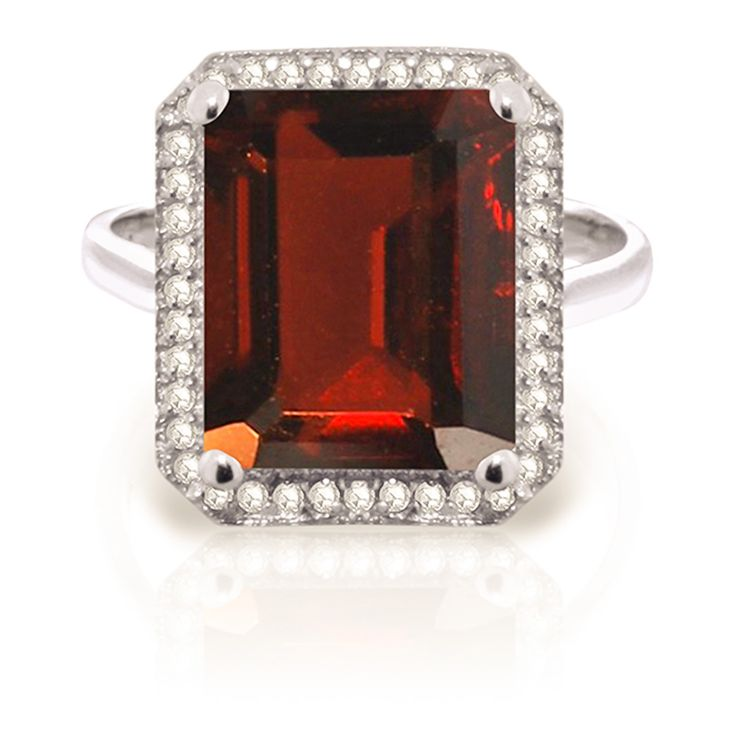buymadesimple.com: QP 9ct White Gold 7.50ct Garnet Ring