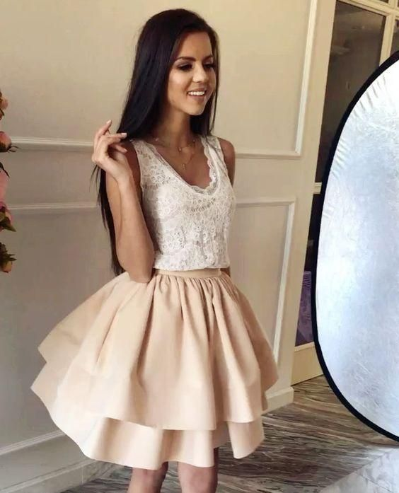 c1a3ab99656 Short Prom Dress for Teens Homecoming Dress with Two Layers Skirt ...