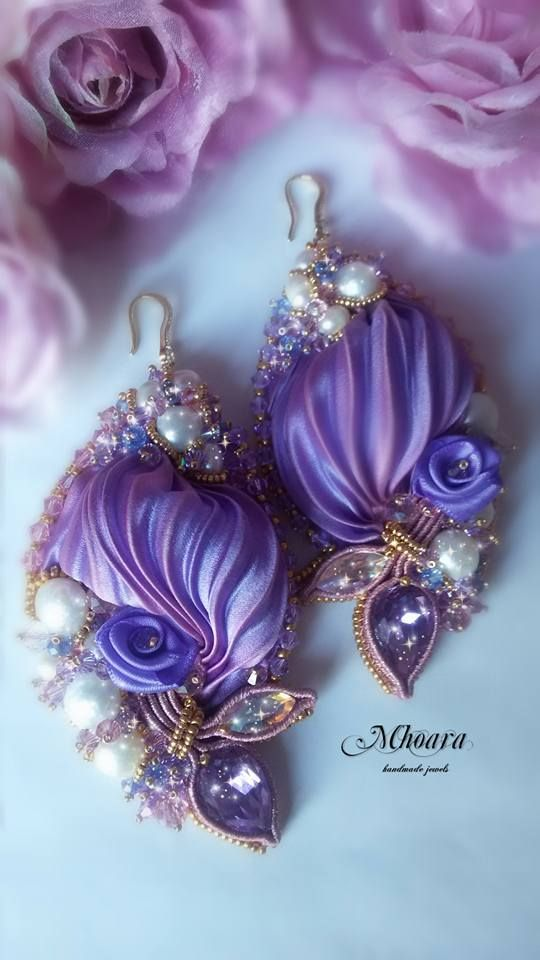 'Spring' Mhoara jewels Shiborisilk earrings sikribbon design, beadembroidery, soutache, violet ,silk, pearls, crystals , elegant exclusive jewerly