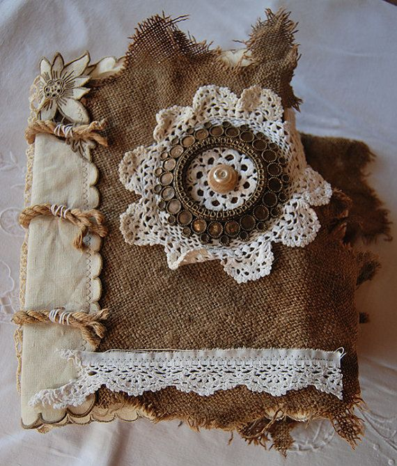 Rags And Lace  Vintage Fabric and Paper Art Journal by AnnieHamman, $150.00