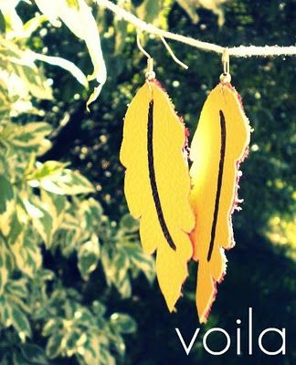 Leather Feather Earrings DIY