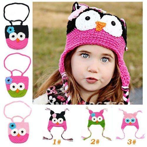 Cartoon Designs Handmade Children Crochet Hats with Bag Baby Girls Owl Beanie + Purse Set Crochet Cap and Bag 5 sets/lot(China (Mainland))