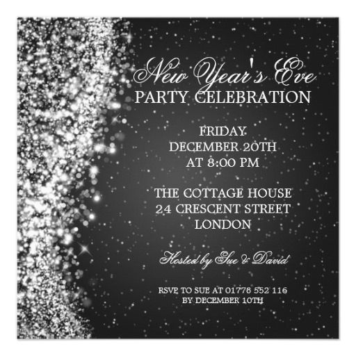 elegant new years eve invitation sparkle black