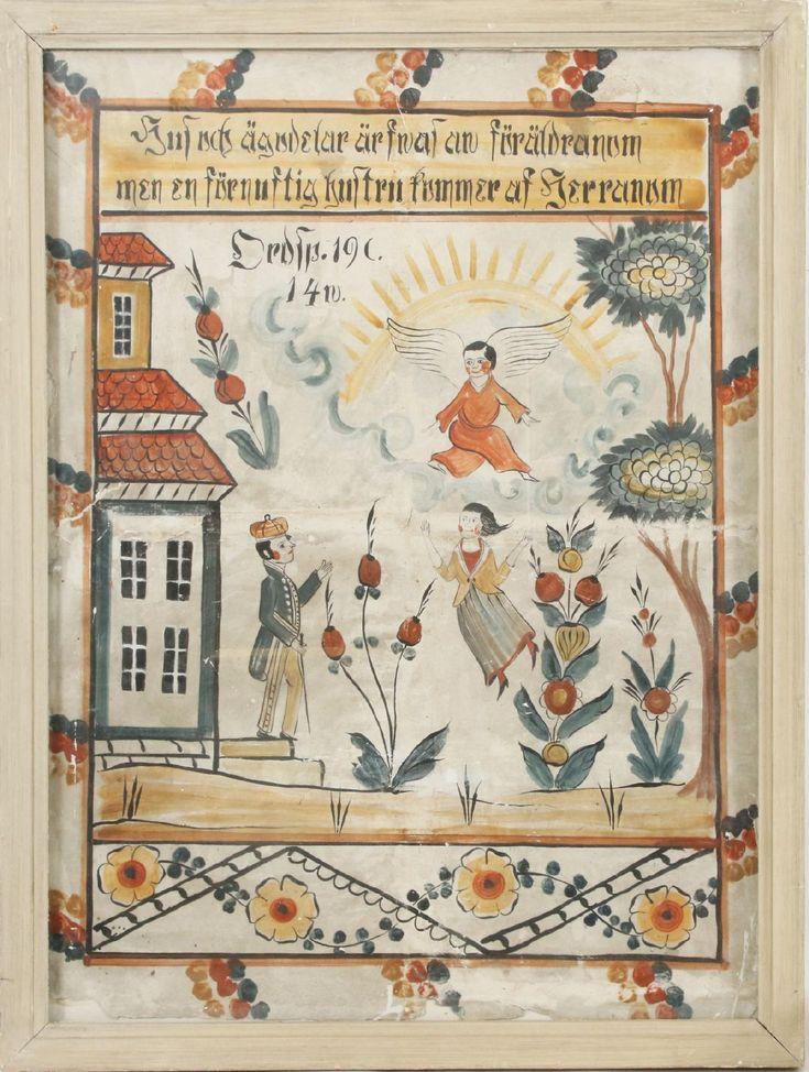 Bengt Engman, tillskriven Dalmålning på papp uppklistrad på väv. Figurscen. Revor, slitage. (113x84). 2100:-